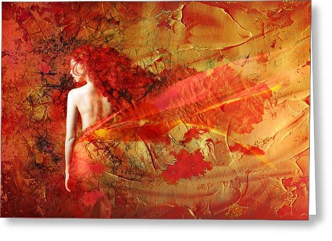 Fantasy Mixed Media Greeting Cards - The Fire Within Greeting Card by Photodream Art