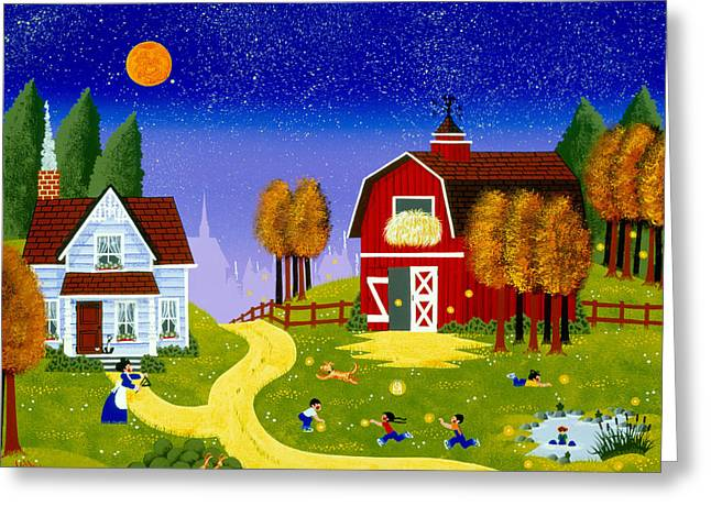 Recently Sold -  - Whimsical. Greeting Cards - The Firefly Brigade Greeting Card by Merry  Kohn Buvia
