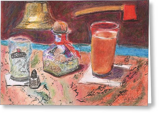 Red Wine Prints Mixed Media Greeting Cards - The Firehouse Greeting Card by William Killen