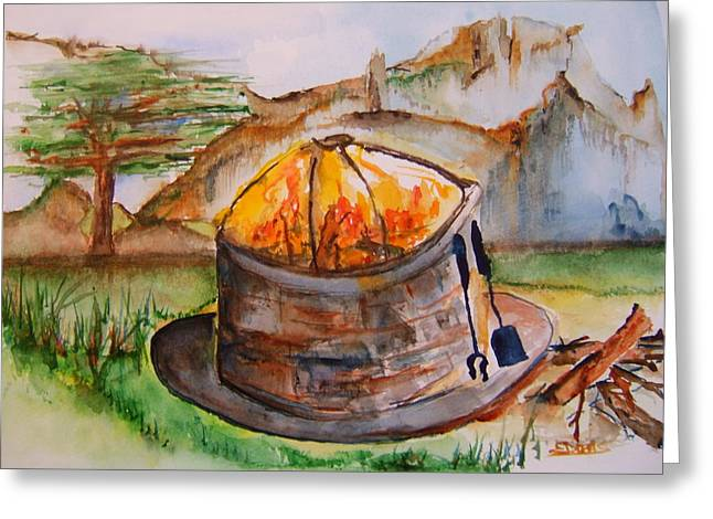 Firepit Greeting Cards - The Firepit Greeting Card by Elaine Duras