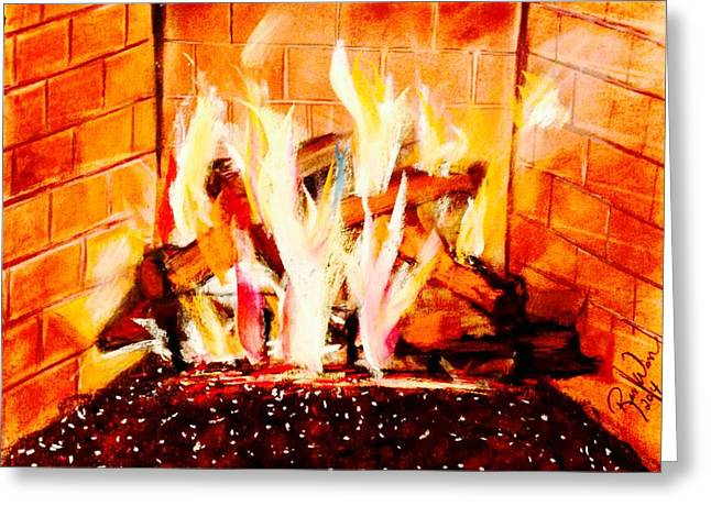 Flames Pastels Greeting Cards - The Firepit Greeting Card by Renee Michelle Wenker