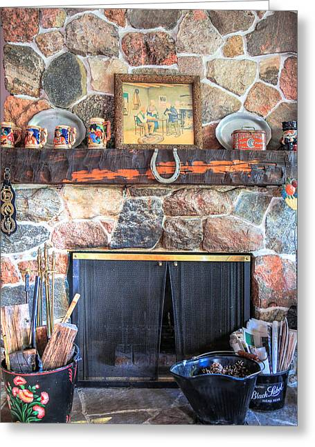 Festivities Digital Art Greeting Cards - The fireplace Greeting Card by Eti Reid
