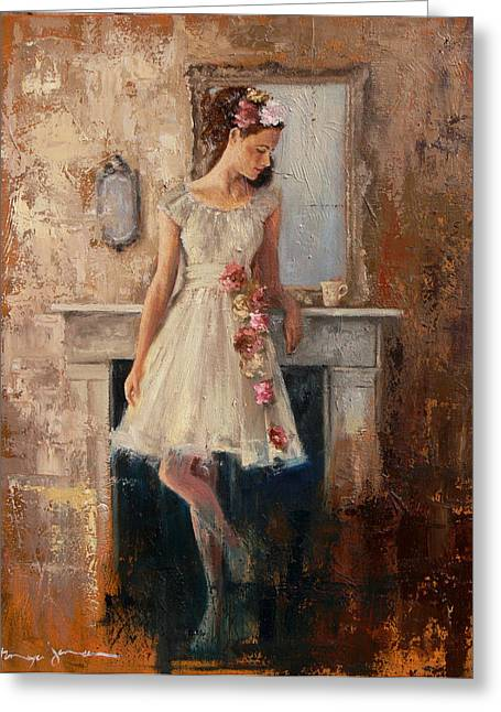 Girl In Dress Greeting Cards - The Fireplace Greeting Card by Tanya Jansen