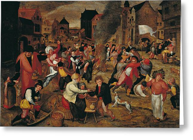 Town Square Greeting Cards - The Fires Of St. Martin Oil On Panel Greeting Card by Maerten van Cleve
