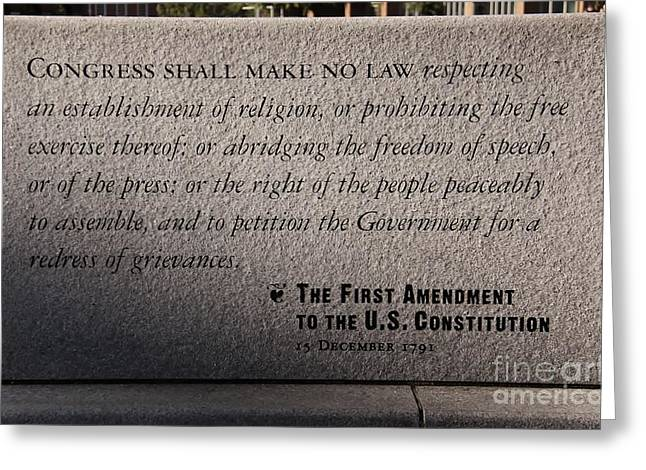 The First Amendment Greeting Card by Gayle Johnson