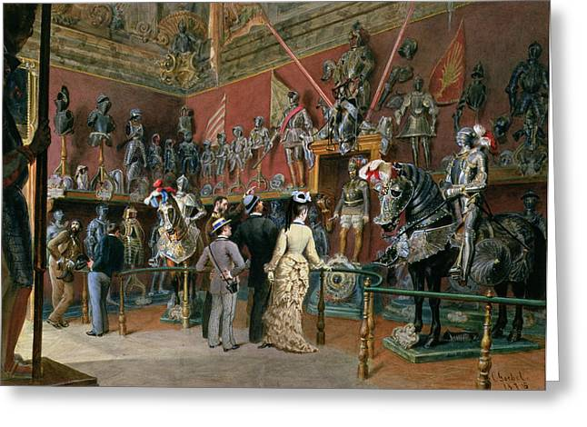 Visitors Greeting Cards - The First Armoury Room Of The Ambraser Gallery In The Lower Belvedere, 1875 Wc Greeting Card by Carl Goebel