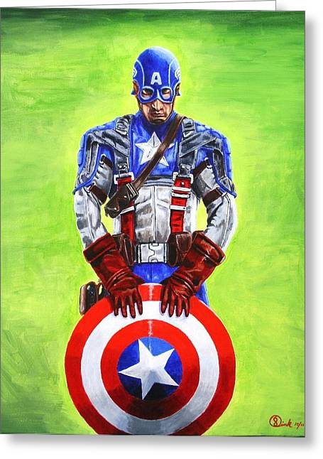 Captain America Paintings Greeting Cards - The first avenger Greeting Card by Robert Link
