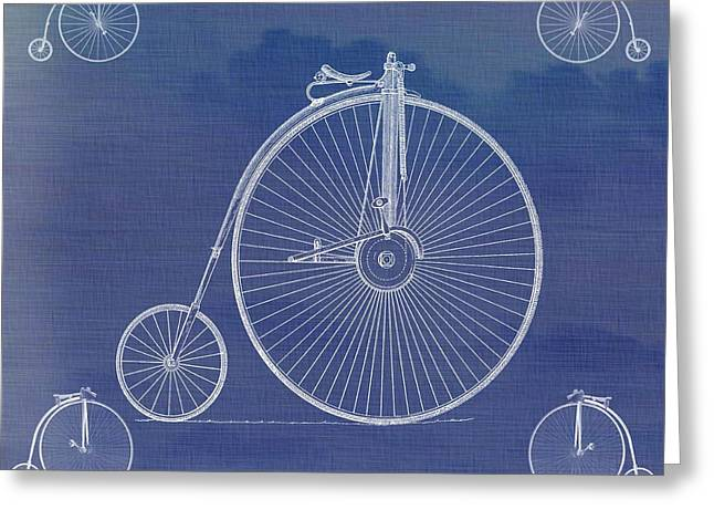 Vintage Bicycle Mixed Media Greeting Cards - The First Bicycle Penny-farthing Greeting Card by Dan Sproul