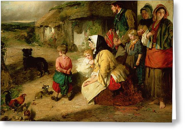 Goodbye Paintings Greeting Cards - The First Break in the Family Greeting Card by Thomas Faed