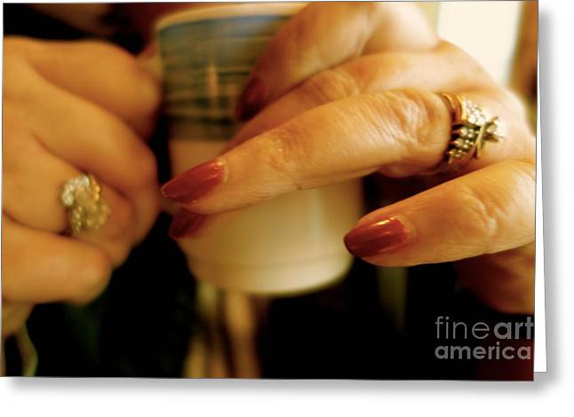 Coffee Drinking Greeting Cards - The First Cup Greeting Card by Jacqueline Athmann