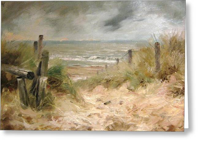 Rain Barrel Paintings Greeting Cards -  Netherlands North Holland Egmond aan Zee Greeting Card by Volodymyr Klemazov