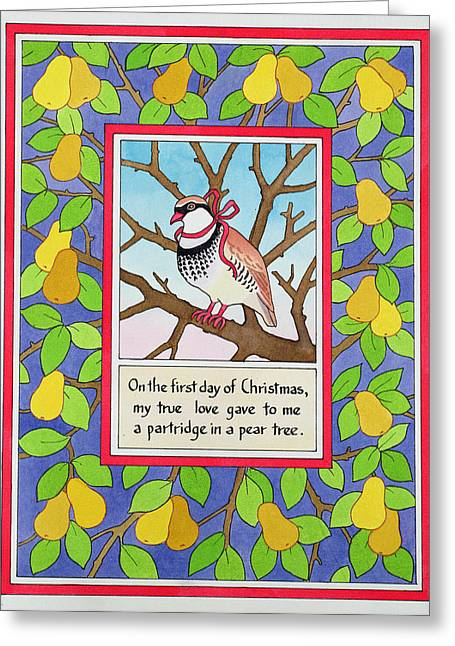 Pear Tree Greeting Cards - The First Day Of Christmas Greeting Card by Lavinia Hamer