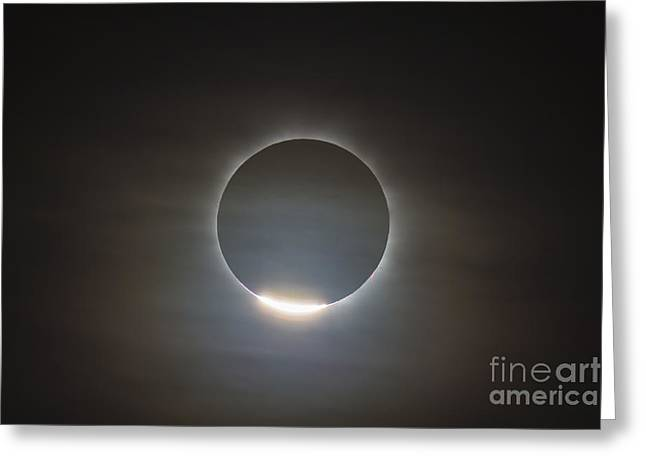 Solar Eclipse Greeting Cards - The First Diamond Ring During The Total Greeting Card by Alan Dyer
