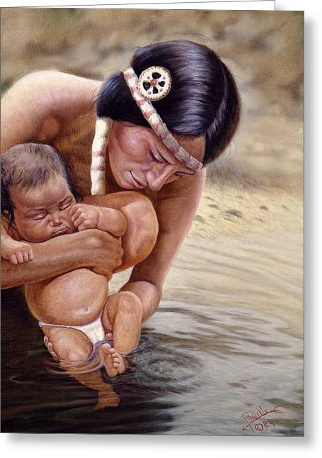 Child Care Mixed Media Greeting Cards - The First Dip Greeting Card by Gregory Perillo