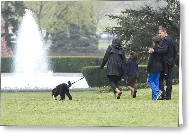 Michelle Obama Photographs Greeting Cards - The First Family and Bo Greeting Card by JP Tripp