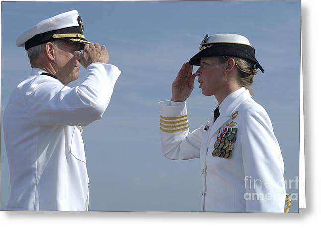 Face Recognition Photographs Greeting Cards - The First Female Commanding Officer Greeting Card by Stocktrek Images