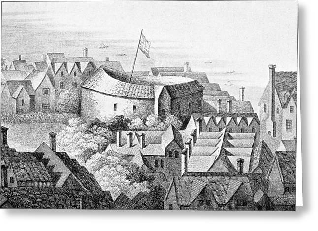 Print Photographs Greeting Cards - The First Globe Theatre Or Rose Theatre Etching Greeting Card by English School