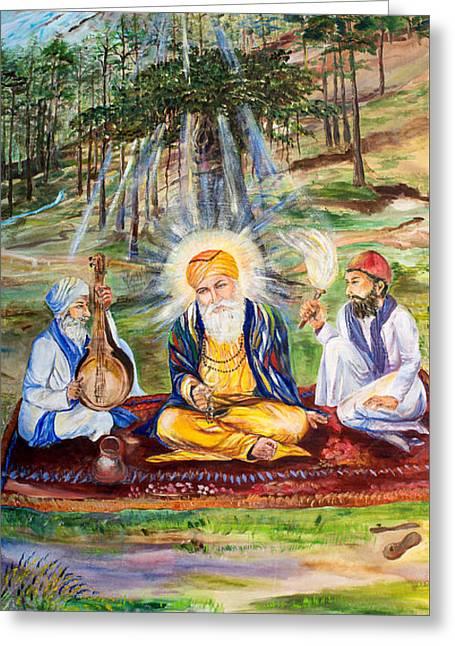 The First Guru Greeting Card by Sarabjit Singh