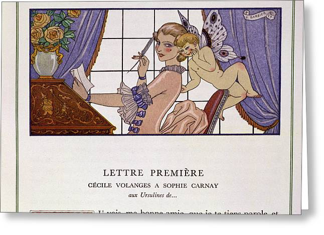 First Love Greeting Cards - The First Letter Greeting Card by Georges Barbier