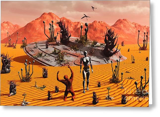 Knelt Digital Greeting Cards - The First Man, Adam, Greeting An Alien Greeting Card by Mark Stevenson