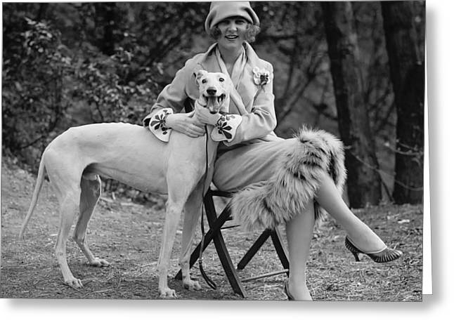 Greyhound Dog Greeting Cards - The First Miss America Margaret Gorman and Her Pet Greyhound 1925 Greeting Card by Mountain Dreams
