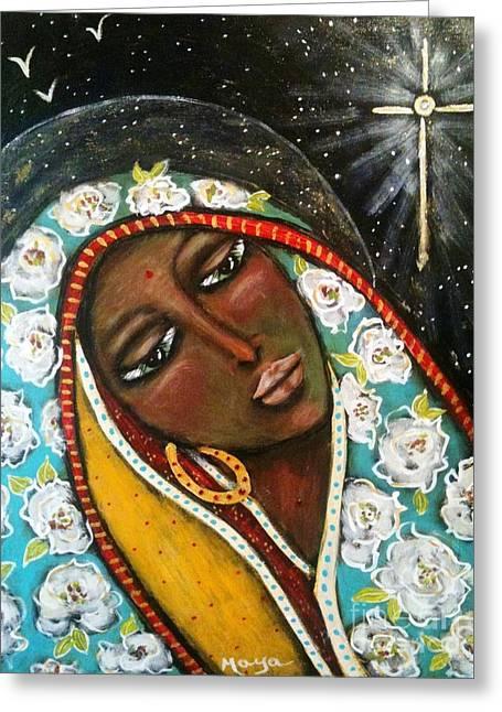 Nuestra Senora De Guadalupe Greeting Cards - The First Noel Greeting Card by Maya Telford