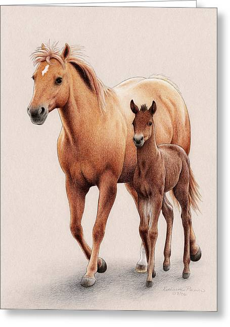 Quarter Horses Greeting Cards - The First of Spring Greeting Card by Katherine Plumer