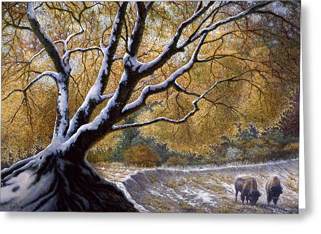 Buffalo Mixed Media Greeting Cards - The First Snow Idaho Greeting Card by Gregory Perillo