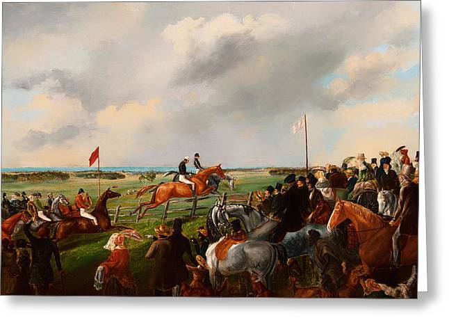 Steeplechase Race Greeting Cards - The First Steeplechase in South Australia 1846 Greeting Card by George Hamilton