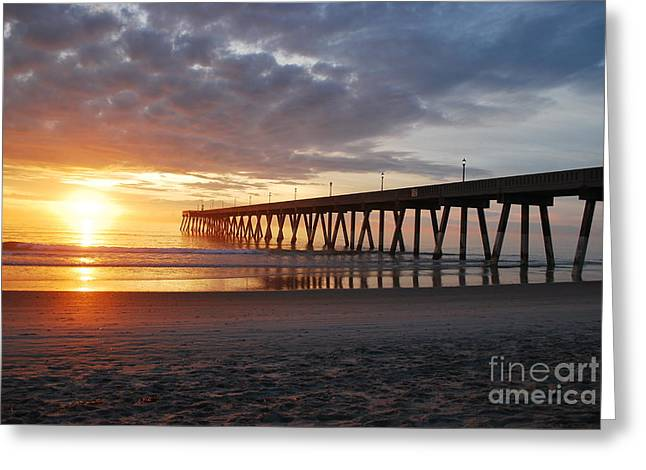 Reflection In Water Greeting Cards - The First Sunrise Greeting Card by Bob Sample