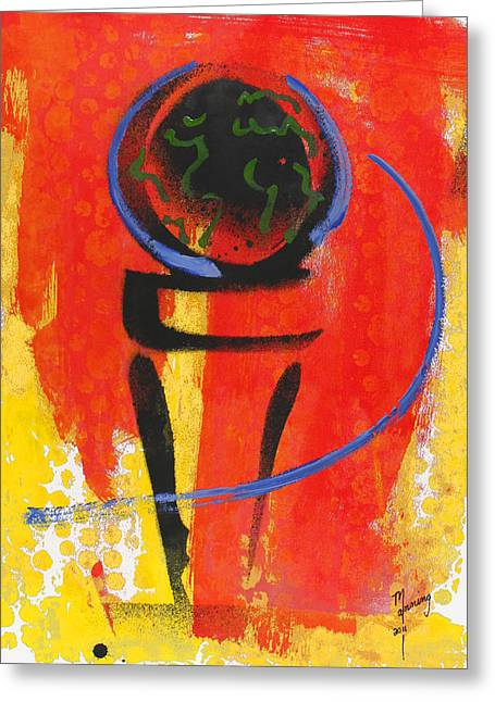 Sean Paintings Greeting Cards - The First Tee Greeting Card by Richard Sean Manning
