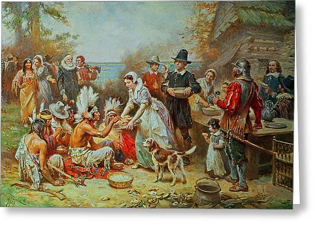 Celebration Paintings Greeting Cards - The First Thanksgiving Greeting Card by Jean Leon Gerome Ferris