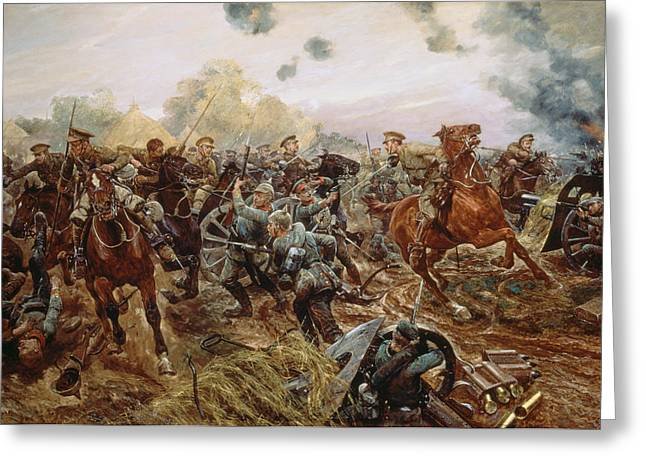 Wwi Paintings Greeting Cards - The First Vc Of The European War, 1914 Greeting Card by Richard Caton II Woodville