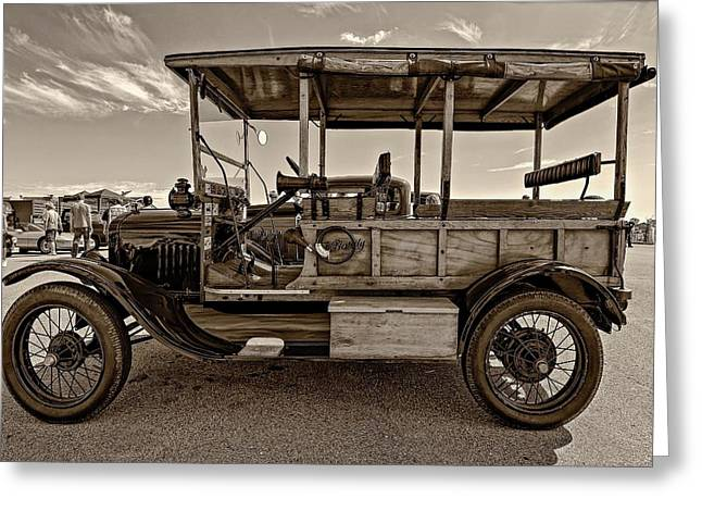 Ford Model T Car Greeting Cards - The First Woodie sepia Greeting Card by Steve Harrington