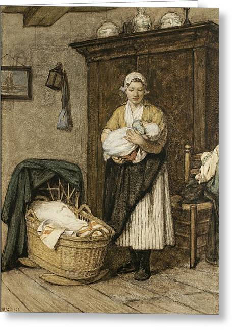 Mother Drawings Greeting Cards - The Firstborn, 1875 Greeting Card by David Adolph Constant Artz