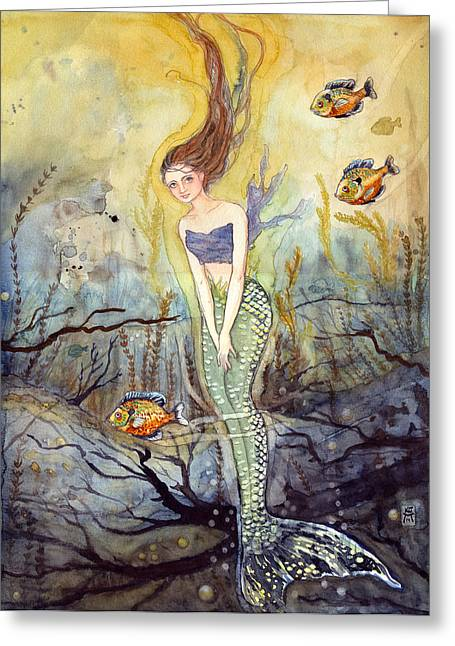 Underwater View Paintings Greeting Cards - The Fish Are Biting Greeting Card by Katherine Miller