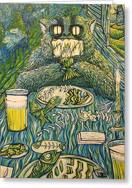 Nice Teeth Greeting Cards - The Fish Dinner Date Greeting Card by Ian Oliver