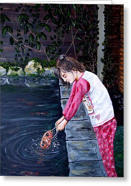 Pajamas Greeting Cards - The fish gives Laura her necklace Greeting Card by Mackenzie Moulton