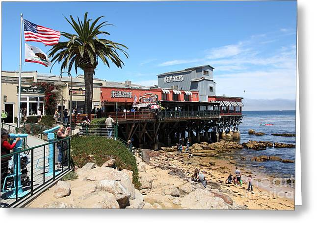 Beaches In Monterey Greeting Cards - The Fish Hopper Restaurant and Monterey Bay On Monterey Cannery Row California 5D25046 Greeting Card by Wingsdomain Art and Photography