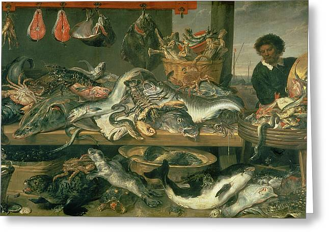 Fishmongers Greeting Cards - The Fish Market, 1618-21 Oil On Canvas Greeting Card by Frans Snyders or Snijders