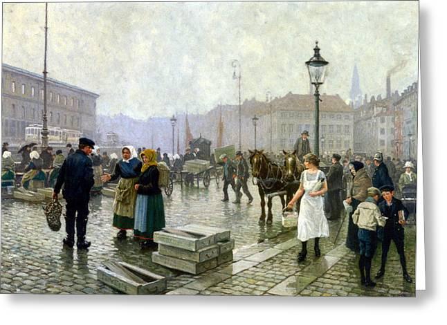 The Fish Market Copenhagen Greeting Card by Paul Gustav Fischer