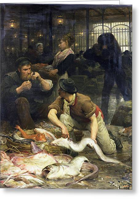 Fishmongers Greeting Cards - The Fish Market In The Morning, 1880 Oil On Canvas Greeting Card by Victor Gabriel Gilbert