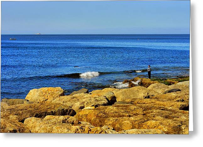 The Fisherman And The Sea Greeting Card by Marco Oliveira