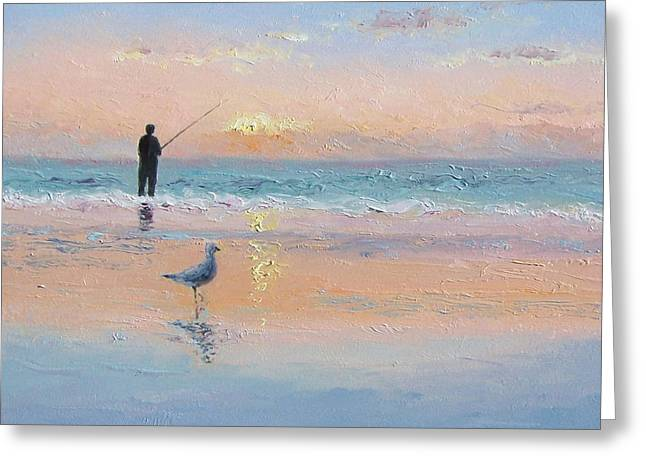 Beach Scenes Greeting Cards - The Fisherman and the Seagull Greeting Card by Jan Matson