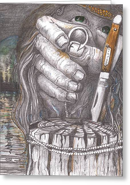 Graphite Pastels Greeting Cards - The Fisherman Greeting Card by David Gallagher