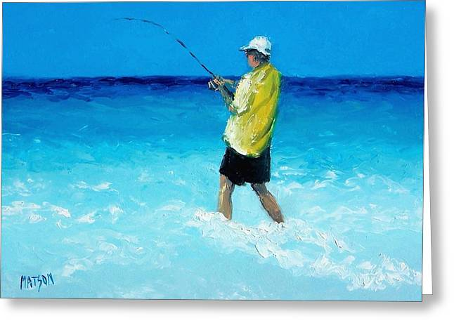 Cabin Interior Greeting Cards - The Fisherman Greeting Card by Jan Matson
