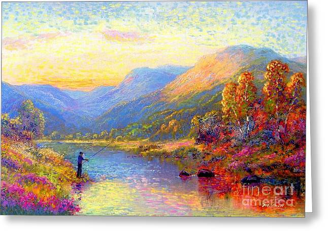 Sunset Scene Greeting Cards - Fishing and Dreaming Greeting Card by Jane Small