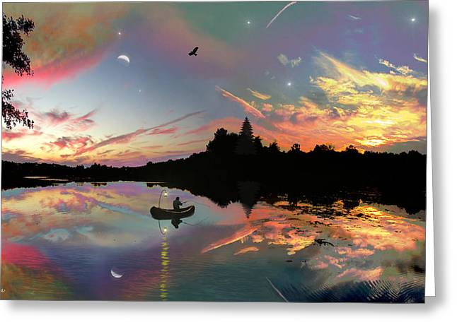 Reflections In River Greeting Cards - The Fisherman Greeting Card by Michael Rucker