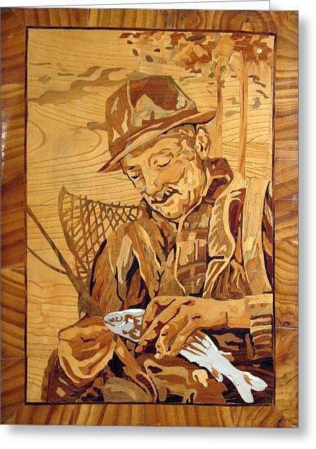 Wood Work Reliefs Greeting Cards - The Fisherman With The Fish Greeting Card by Persian Art