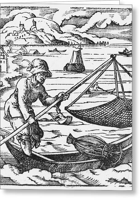 Feather Hat Greeting Cards - The Fisherman Woodcut Bw Photo Greeting Card by Jost Amman